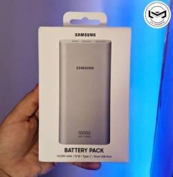 Carregador Portátil Samsung 10000 mAh, com 2 USB,  e cabo TIPO C. <br>