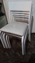Kit Cadeira metálica Empilhável Assento Estofado
