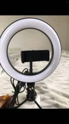 Ring light 8 polegadas com tripé e suporte para celular