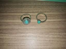 Anéis azul turquesa