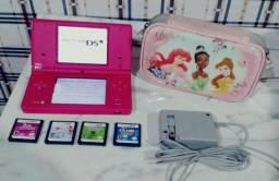 V/T Nintendo Dsi Rosa Completo + 4 jogos