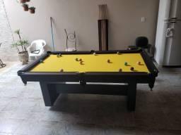 Mesa Encanto de Bilhar Cor Preta Tecido Amarelo Mod. RGGB7159