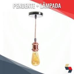 Pendente retrô rosé + lâmpada Tomas Edson st64