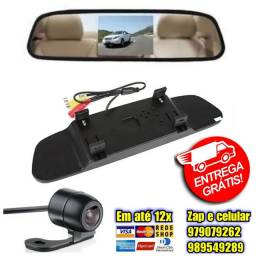 Espelho Retrovisor Monitor Câmera De Ré Tela Auxiliar Carros