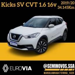 Título do anúncio: Kicks SV 1.6 CVT 2019/20 - Marcelo Braga