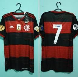 Camisa do Flamengo Rubro Negra Masculina 2020/21 com patches e número 7