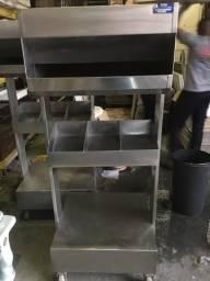 Porta porta, talher e pratos em aço inox