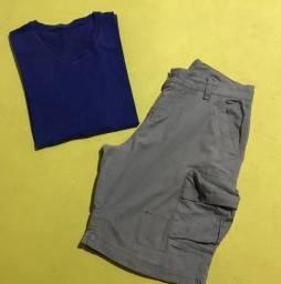 Bermuda e camiseta masculina tamanho 48/XXG