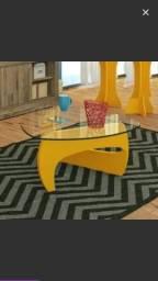 Mesa de Centro com Tampo de Vidro Cult Artely Amarelo. WhatsApp 99805-3607