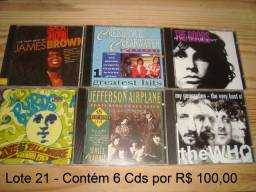The Who, Doors, Byrds, Jefferson Airplane, James Brown, Creedence C C, lote com 6 Cd