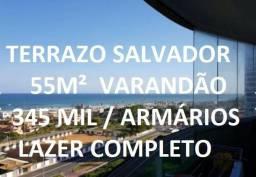 Título do anúncio: ¼ Patamares Vista Mar Terrazo Salvador varandão Armários 55 m2 alto Nascente Oportunidade
