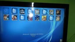 Ps3 desbloqueado com 1 controle e hd com jogos e vários emuladores.