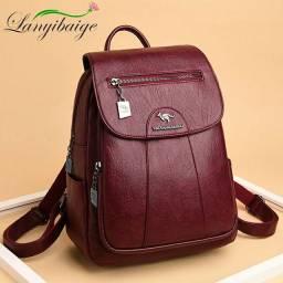 mochila de couro macio do vintage feminino (entrega grátis)
