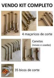 Kit maçarico de corte, maçarico de metalização, etc