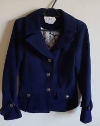 Casaco de lã batida azul marinho
