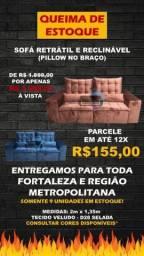 Título do anúncio: SOFÁ EUDORA RETRATIL E RECLINÁVEL COM PILLOW TOP NO ACENTO