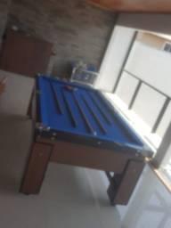 Mesa Gaveta de Sinuca Cor Freijó Tecido Azul Mod. RJWB2462