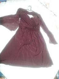 Vestido vinho com chalé tamanho G