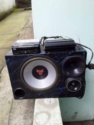 Amplificador, dvd e caixa top