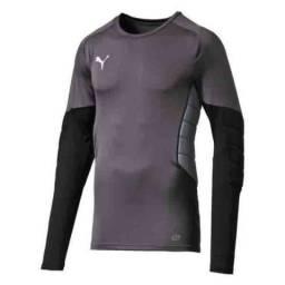 Camisa de goleiro Puma com proteção - preta e cinza - original