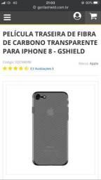 Películas fibra de carbono para iPhones 7 e 8