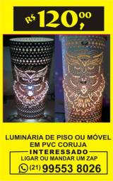 Luminária de piso ou móvel em tubo de pvc coruja