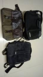 3 bolsas sendo 1 sansonyte 1 de couro 1 estilo mochila , serve pra notebook