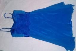 Vestido social azul de festa