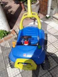 Carrinho Smart de Passeio Azul com Pedal com Bagageiro