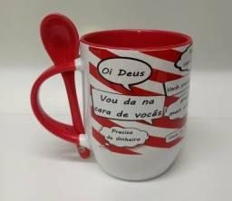 Título do anúncio: Canecas de porcelanas com colher personalizadas, presentes, namorados