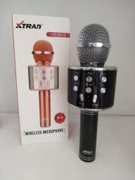 Título do anúncio: Microfone karaokê Portátil Sem Fio - WS 858 - Xtrand