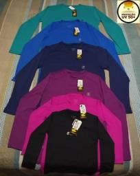 Camisas Lisas com proteção uv 50+ em cores variadas do infantil ao GG