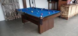 Mesa Encanto e Bancos L. Cor Imbuia Tecido Azul Mod. JRDA8581