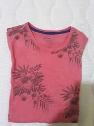 Bonita camisa florida masculina de algodão, tamanho P, cor salmão