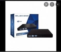 Título do anúncio: Leitor Gravador Cd/Dvd Externo Slim Bluecase Usb 2.0 Completo Novo