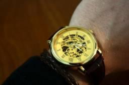 Relógio Mecânico Dourado Transparente Skeleton 42mm Novo 12x