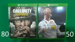Call of Duty WWII - FIFA 18 - Xbox One (Os 2 em estado de novo, sem nenhum arranhão)