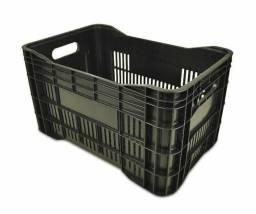 10 Caixas Plasticas 48 litros pretas, caixa de mercado, feira, hortifrute