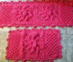 Tapete relevo em crochê 3 peças