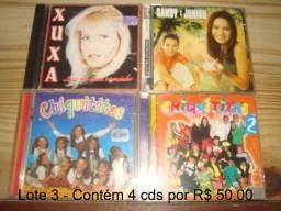Xuxa, Sandy & Junior, Chiquititas, preço do lote com 4 cds usados