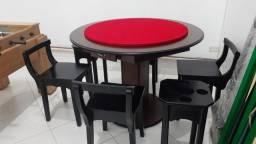 Mesa Carteado Cor Tabaco Tecido Vermelho Mod. ZTLX2423