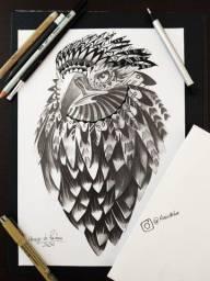 Desenho realista a grafite águia