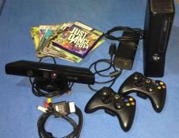 XBOX 360 (Destravado) + Kinect + 2 Controles + 20 Jogos / Just Dance Original