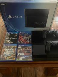 PlayStation 4 + 2 controles + jogos
