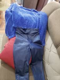 Promocao, conjunto calca courino e blusao de lã