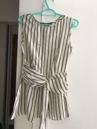 Blusa com listras finas verticais da Zara