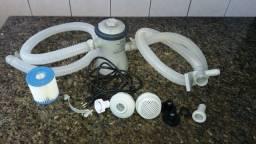 Bomba/Filtro para Piscina 127V 1250L/h + Pastilhas de Cloro e Fitas teste