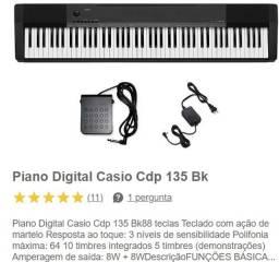 Título do anúncio: Piano Digital Casio Cdp 135 Bk Praticamente Novo