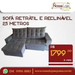 Título do anúncio: Sofá retrátil e reclinável grande 2,5m - novo