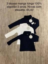 3 blusas manga longa 100% algodão novas com etiqueta 2 anos